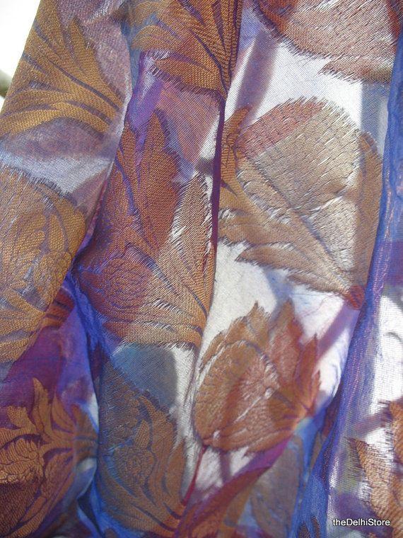 Plaid Floral Brocade Fabric in Purple, Mauve and Gold - Decorative Chanderi Silk Fabric