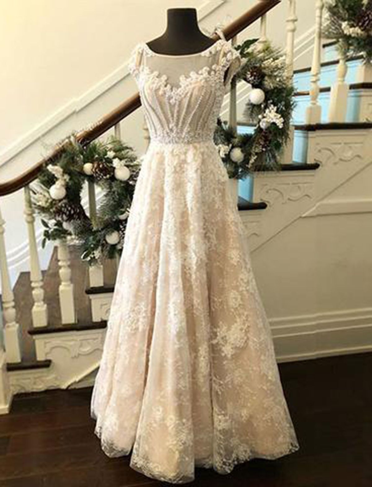 Creamy lace scoop neck long cap sleeves winter formal prom dress