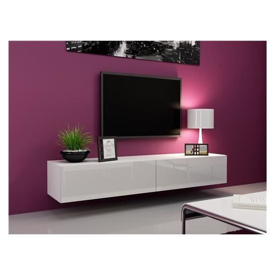 meuble tv meuble tv design suspendu vito 180 blanc | salon ... - Meuble Tv Design Suspendu