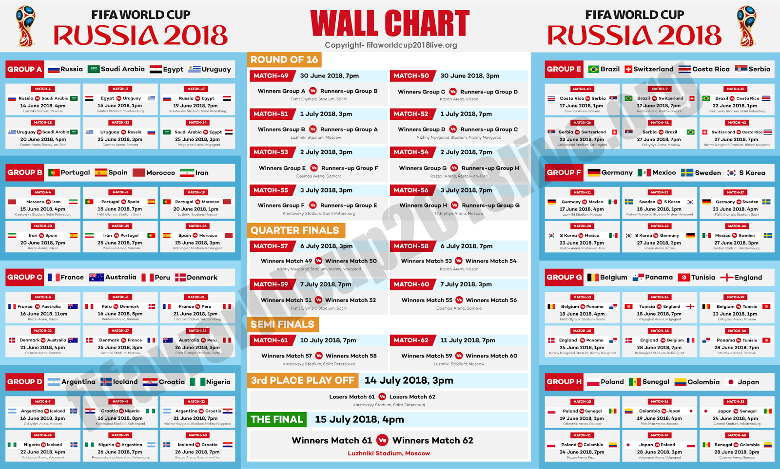 Printable Fifa World Cup 2018 Free Wallchart Pdf Download Fifa World Cup 2018 Live Streami With Images World Cup Fixtures World Cup Match Soccer World Cup 2018