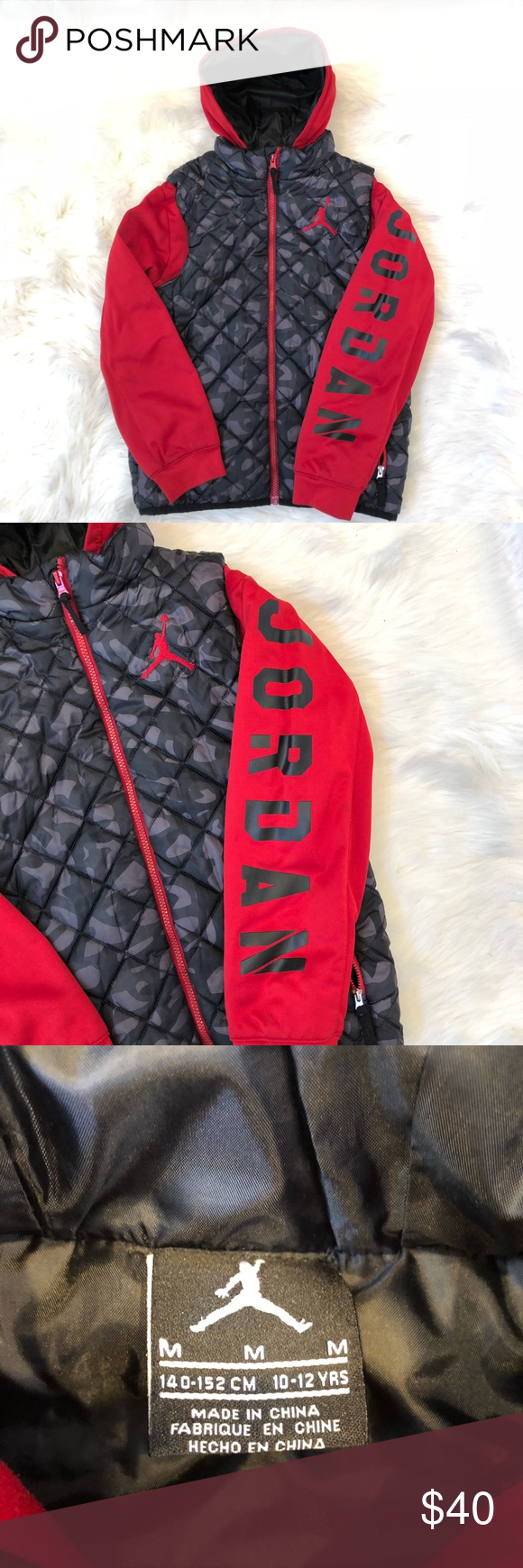 3777d6548d0 JORDAN Boys Youth Quilted Jacket Great preowned condition. Jordan black  camo/red jacket. One flaw, pictured, one stitch came loose at very top at  collar.