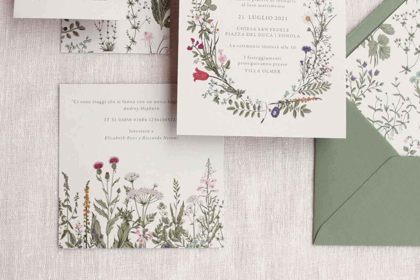 Partecipazioni Naturali Tema Fiori Busta Verde Inviti Floreali Inviti Di Matrimonio E Nozze Nel 2020 Invito Floreale Matrimonio Con Fiori Inviti Di Nozze
