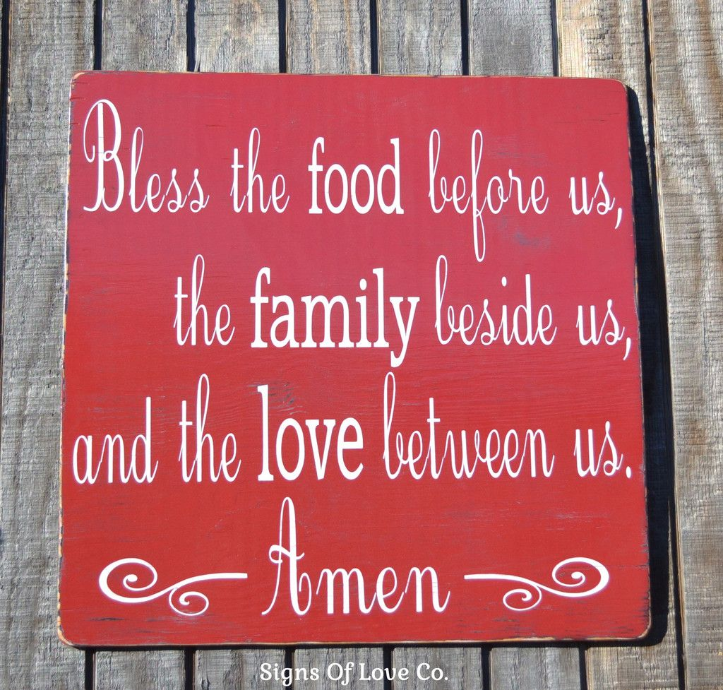 Rustic bless the food before us wood sign kitchen wall art decor