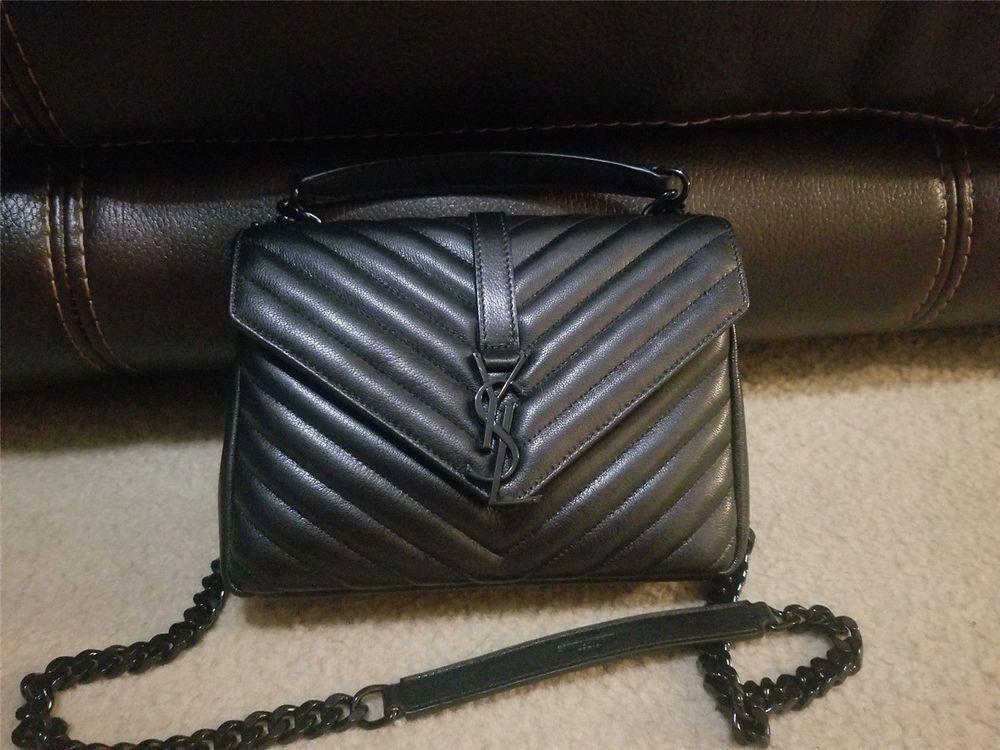 5583452fca AUTHENTIC SAINT LAURENT YSL MONOGRAM COLLEGE CHAIN SHOULDER BAG BLACK MED   purses  fashion