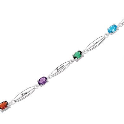 Sterling Silver Simulated Oval Birthstone Mother's Bracelet (2-7 Stones and Names) - Zales