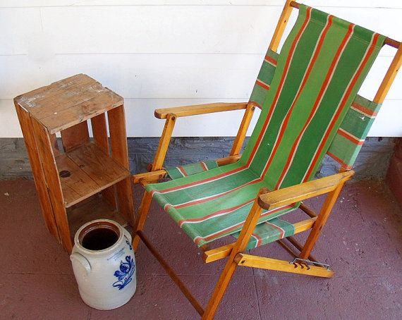 Vintage Wood and Canvas Folding Beach Chair Retro by ...