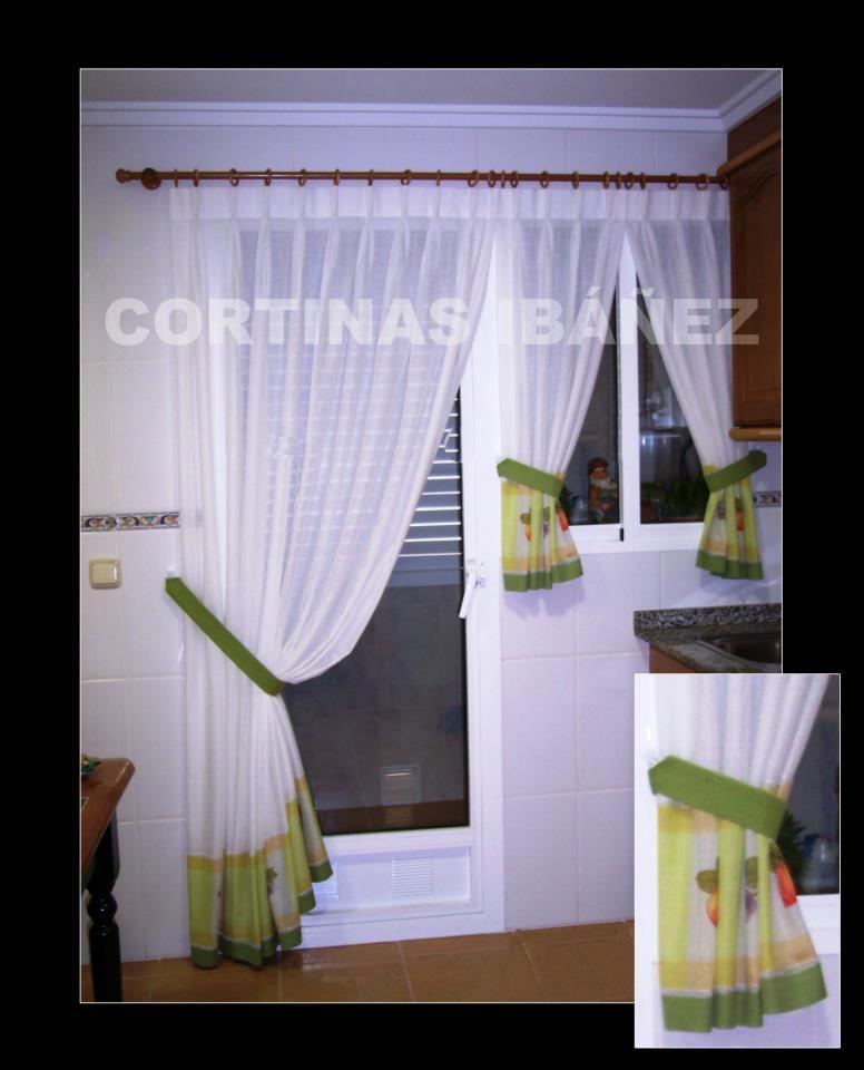 Cortinas en visillo de cocina con cenefa por el bajo - Tela cortinas cocina ...