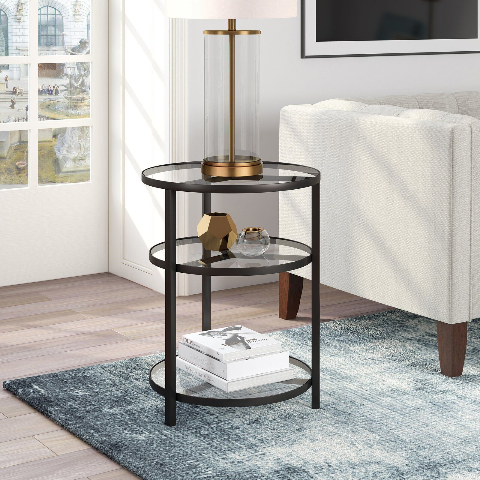 Goncalves Glass Top End Table In 2020 Glass Top End Tables End Tables Modern Furniture Living Room