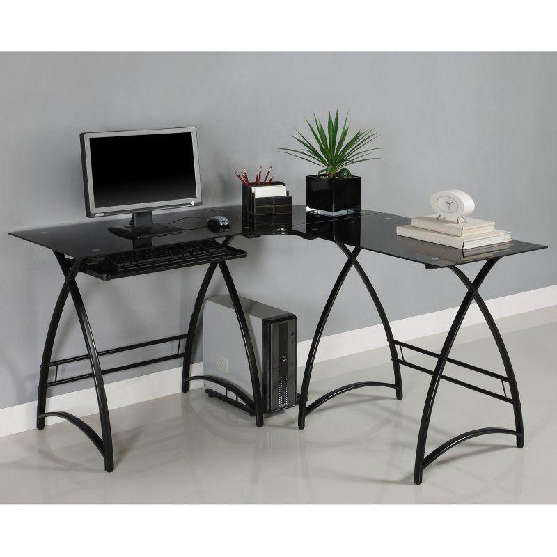 Walker Edison L Shaped Black Glass Top Computer Desk Black
