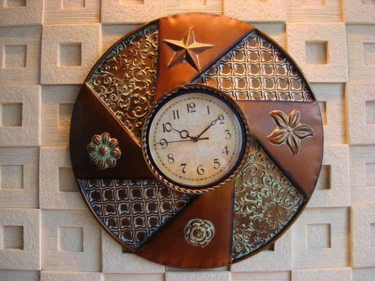Rustic Font B Antique Iron Round Wall Clocks Digital Clock Jpg 750 563 Home Decor Pinterest