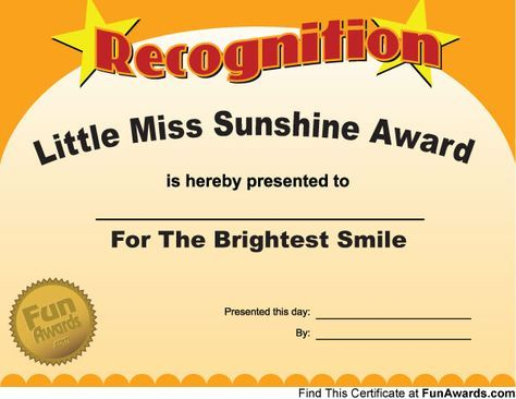 little miss Sunshine ( 1 Pinterest Sunshine, Employee - free printable certificate of recognition