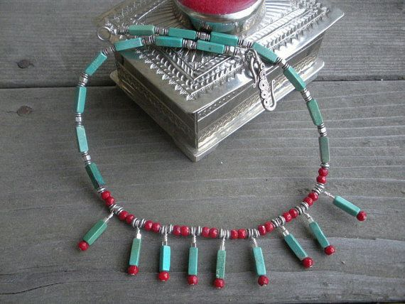 Turquoise Bamboo Coral Necklace Turquoise by 2di4jewelryoriginals