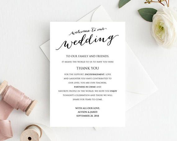 Wedding Welcome Card Template Instantly download, edit and print - invitation information template