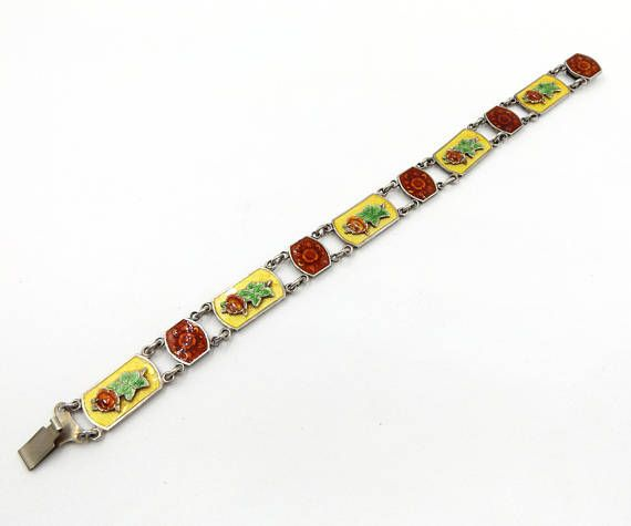 Antique Guilloche Enamel Bracelet | Sterling Silver Basse-Taille Roses Bracelet