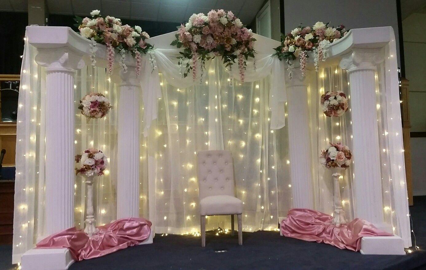 Backdrop White Columns With Lights Flower Balls Wedding Backdrop Wedding Decorations Decor