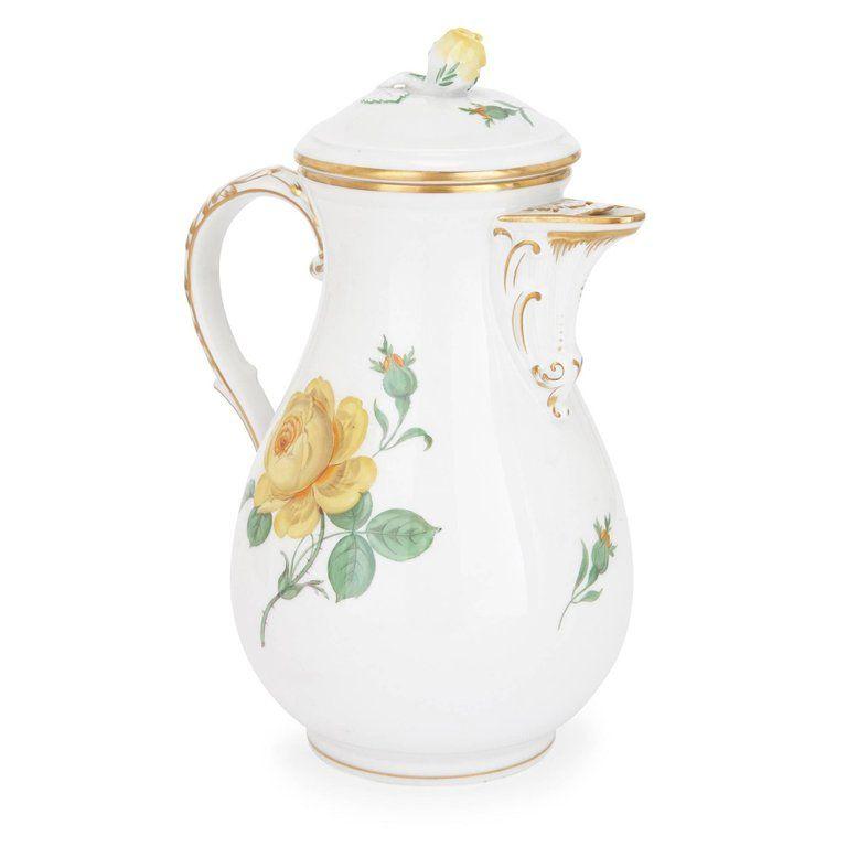 Fine Meissen Porcelain Large 12 Person Dessert Service with Floral Design 2