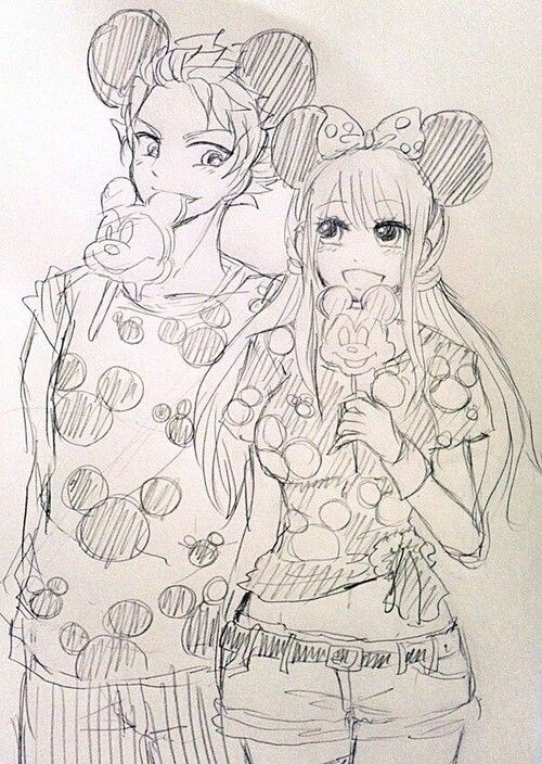 Natsu and Lucy in Disneyland