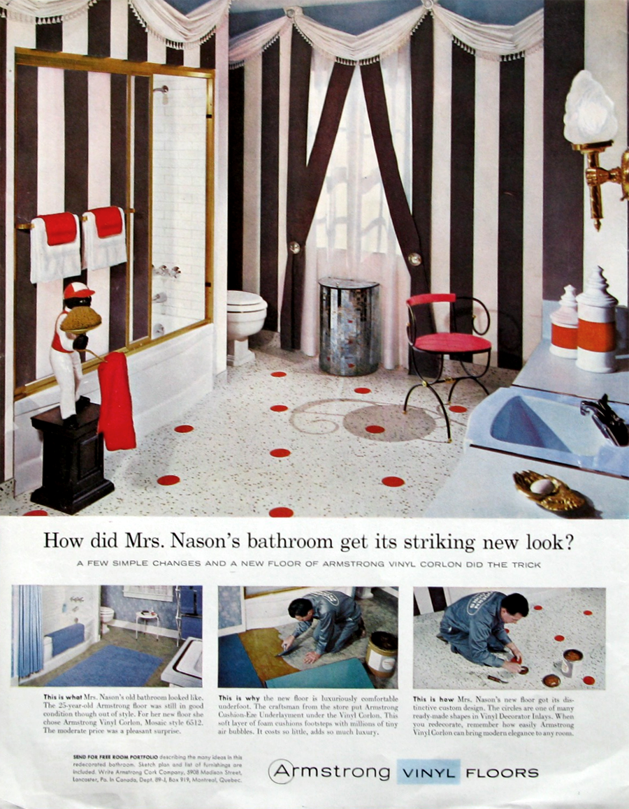 Cool Retro Bathrooms 1959 armstrong - cool retro striped bathroom (from #retroreveries