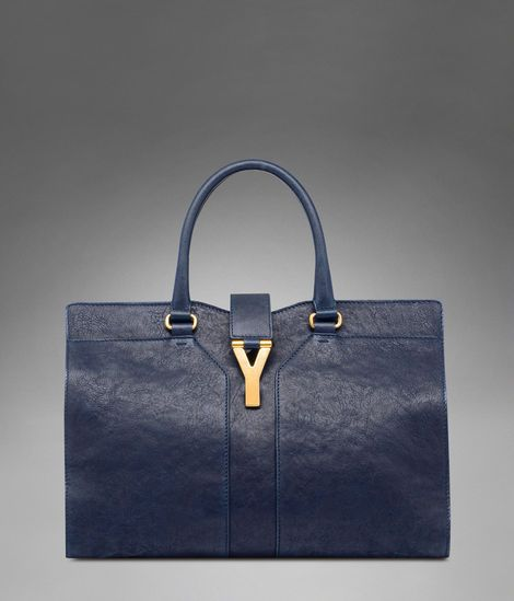 Check out Large YSL Cabas Chyc in Navy Blue Leather at http   www 52d3fed176a3c