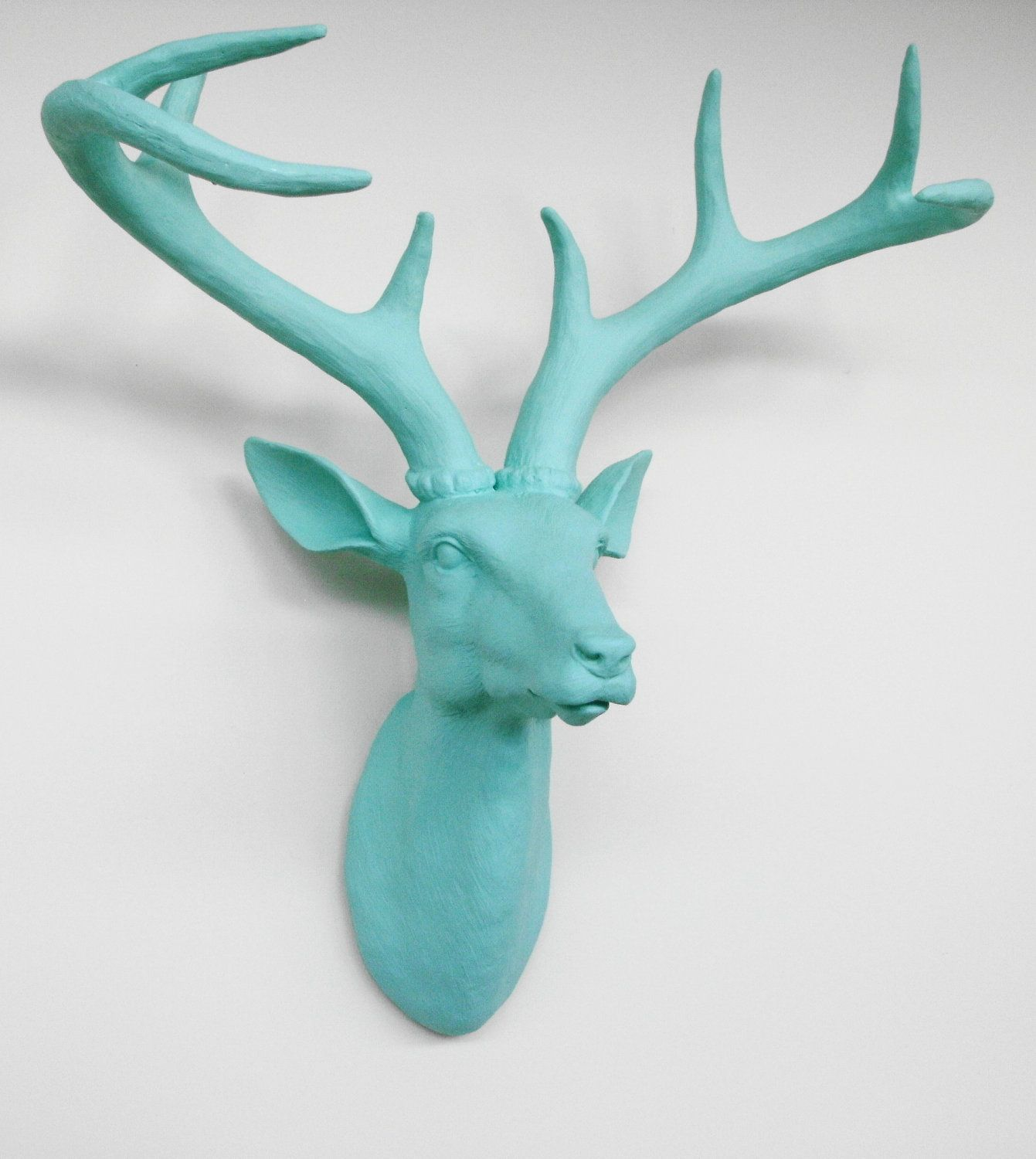 Capri Blue Deer Head Stag Head Faux Deer Head Mounted Deer Head Fake Deer Head 89 00 Via Etsy Deer Head Wall Art Animal Wall Mount Faux Deer