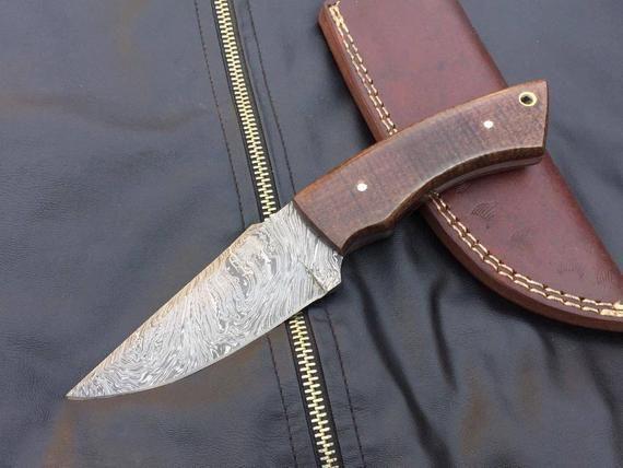 """8.5"""" Custom Handmade Damascus Skinner Knife With Micarta"""