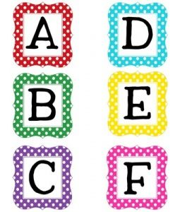 free multi polka dot uppercase letters blank editable boxes included