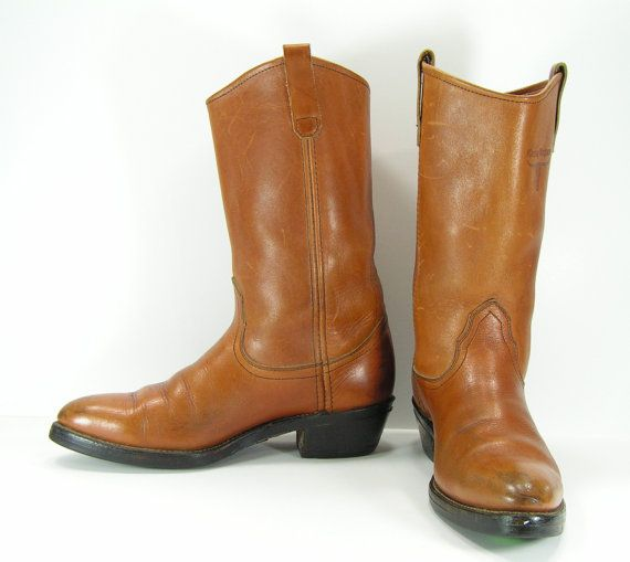 9b244e3fceb78 cowboy boots womens 10 honey brown vintage Mason union made usa ...
