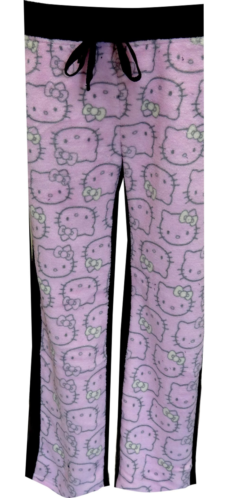 e6dbd742f WebUndies.com Hello Kitty Pink and Black Fleece Lounge Pants ...