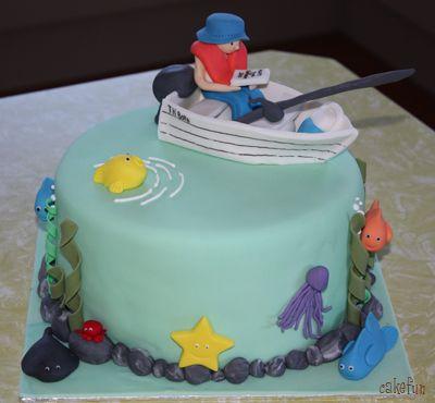 Fishing Cake Ideas Fish Birthday Cake On Ocean Fishing Cake And - Fishing boat birthday cake