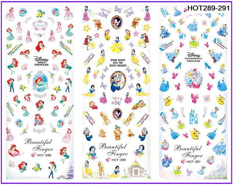 3 packs/lot del fumetto della principessa bianco neve sirena nail tatuaggi decalcomania acqua nail art HOT289-291