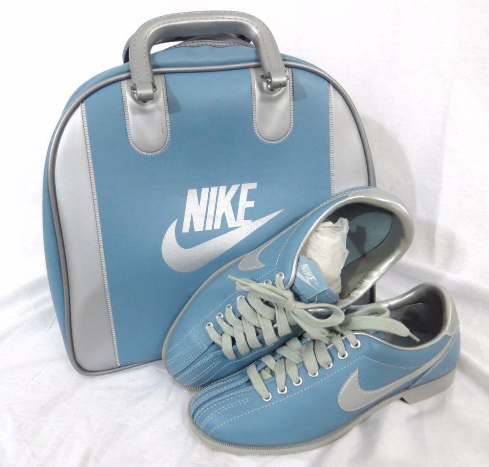 358914c892db3e Nike Women s Bowling Shoes 10 Vintage 1980 s Blue Metallic Swoosh Ball Bag  Set  NIKE