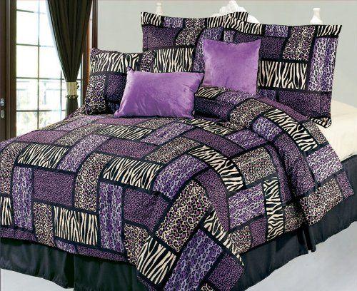 Purple Zebra Cheetah And Leopard Print Comforter Bedding Sets