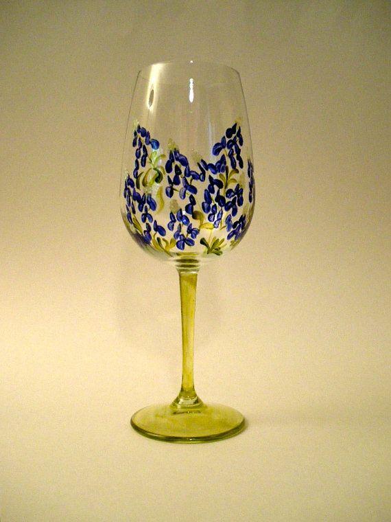 Wine Glass Bluebonnet Blue Bonnets Wine Glass Painted Wine Glasses