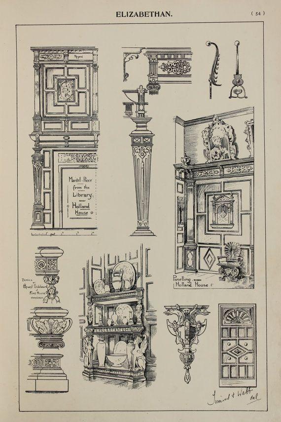 Photo of Artikel ähnlich wie England Elizabethan Furniture Designs, Large 1904 Antique Black & White Print, Innenarchitektur, Kunsthandwerk auf Etsy