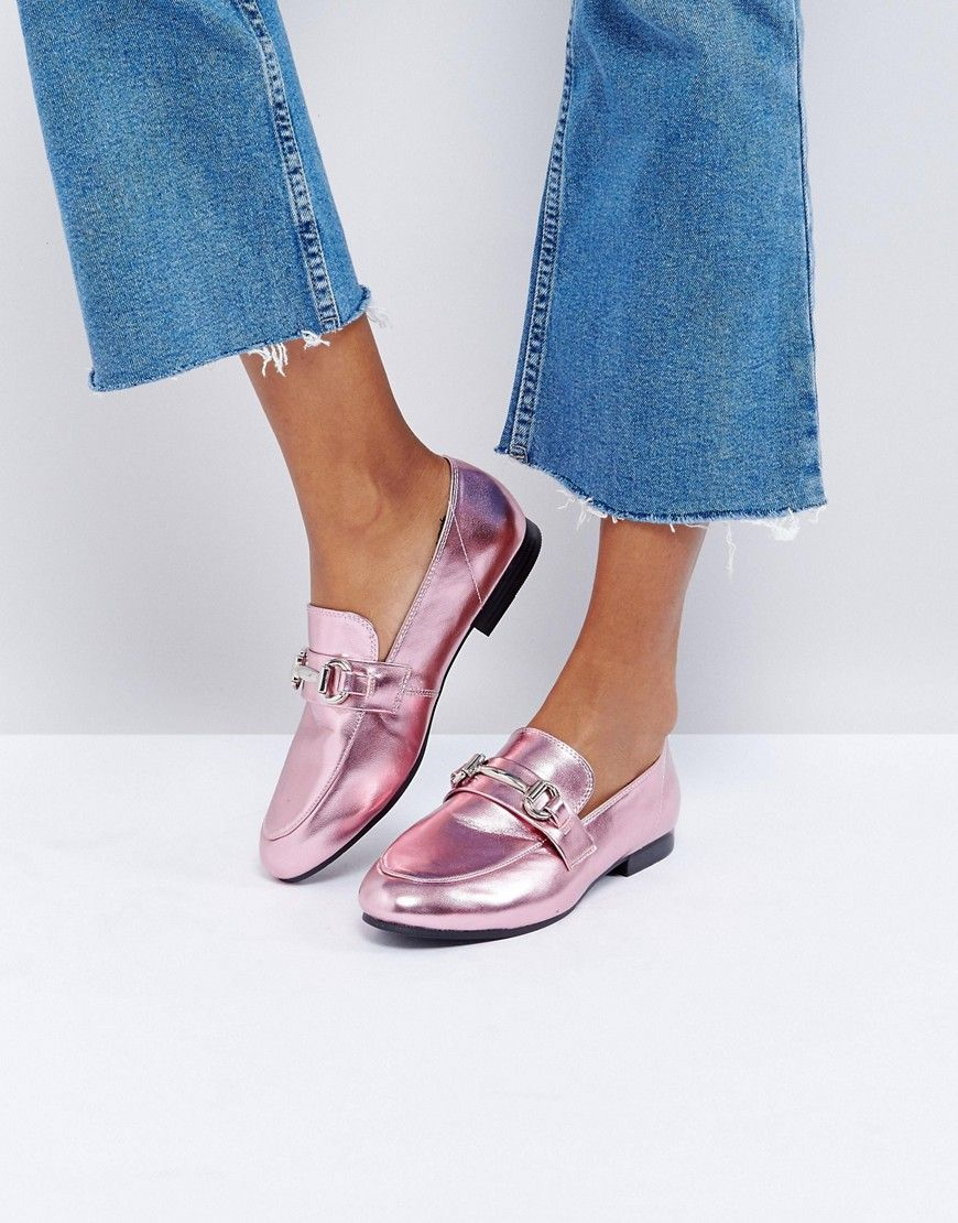 77d53e3bb New Look Metallic T Bar Loafer - Pink | Products | Shoes, Fashion ...