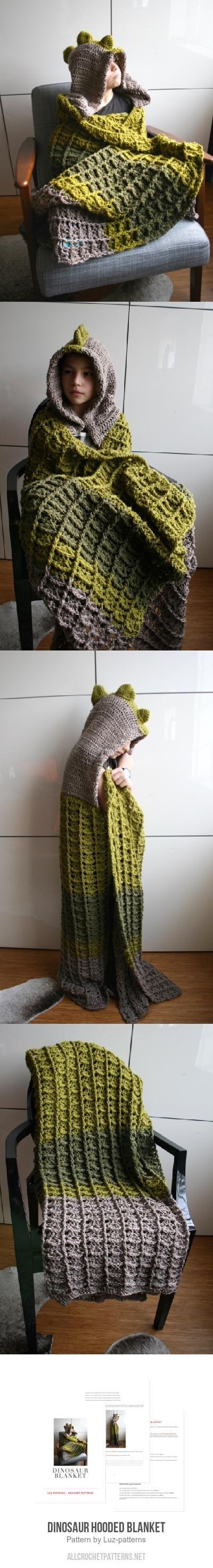Dinosaur Hooded Blanket Crochet Pattern By Luz Patterns Crafts
