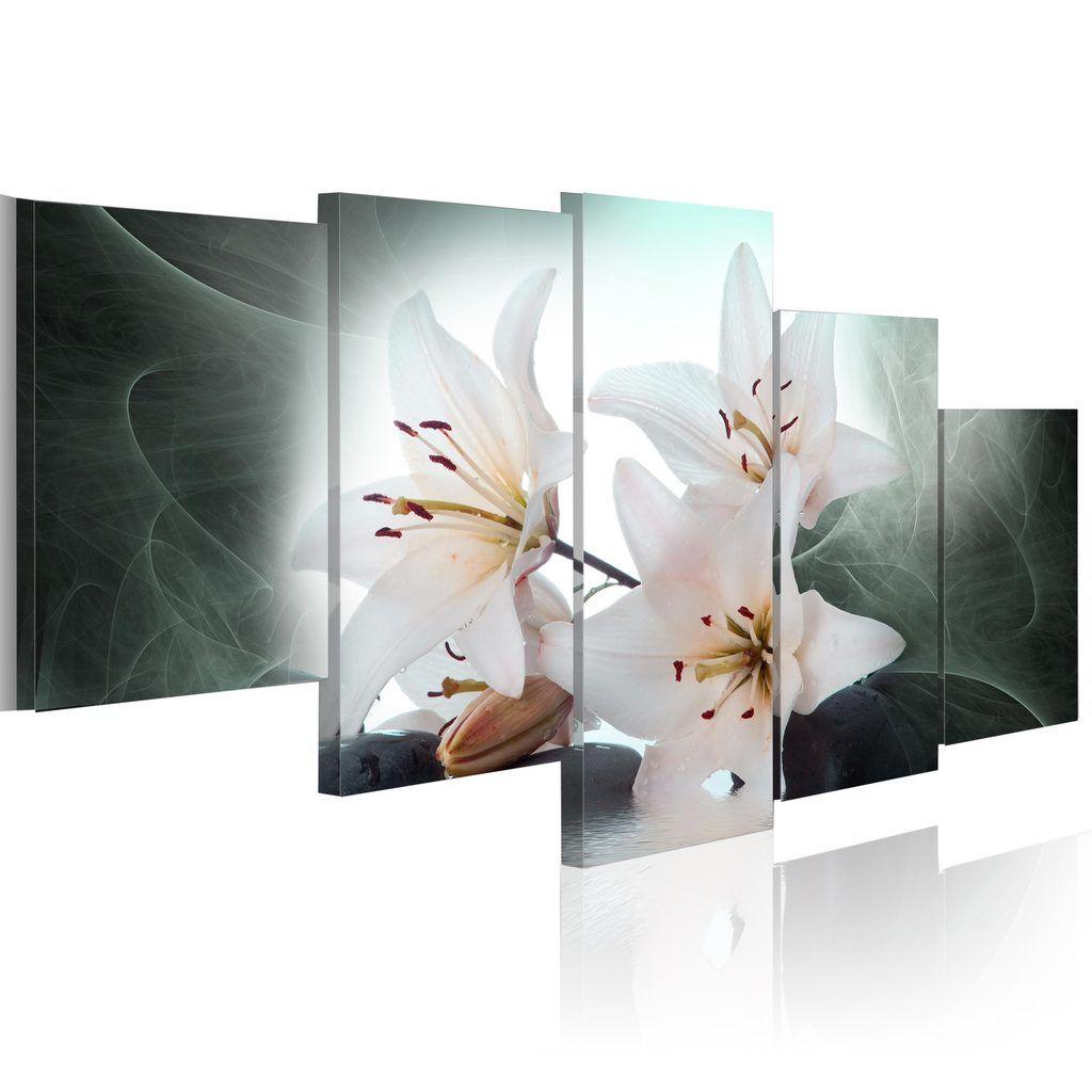 Modernes Wandbild 030110- 2 (100x50) - 5 Teilig Bilder Fotografie auf Vlies Leiwnand Foto Bild Dekoration Wand Bilder Kunstruck Blumen