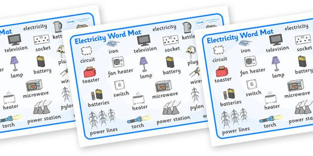 Electricity Word Mat - Electric, safety, safe, word mat, mat ...