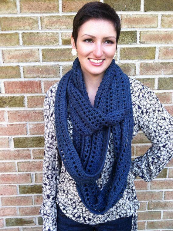 Fall Semester Infinity Scarf PDF Crochet Pattern CIRCLE Scarf Mesh ...