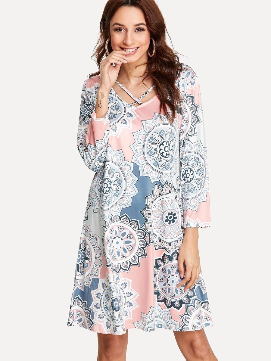 5d1e729b86 Mandala Print Trapeze Dress -SheIn(Sheinside) | Clothing wants ...
