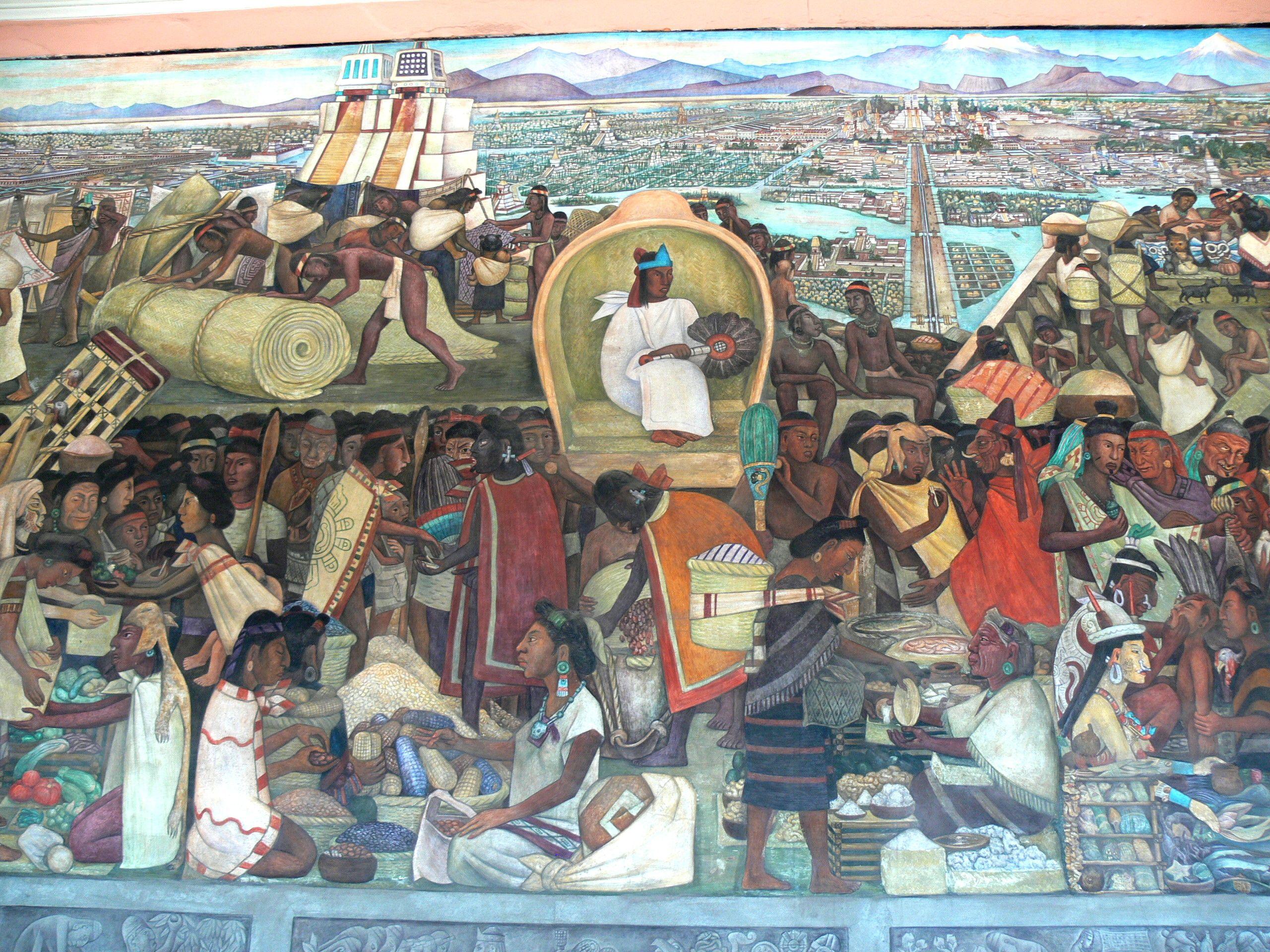 Mural D. Rivera Mural de Rivera mostrando la vida de los aztecas en el mercado de Tlatelolco. Palacio Nacional de Ciudad de México (gracias Manuela M.)