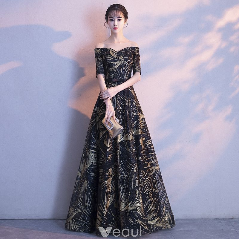 Chic / Beautiful Black Gold Evening Dresses 2018 A-Line / Princess ...