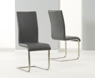 Mark Harris Malibu Grey Faux Leather Dining Chair Pair Malibu