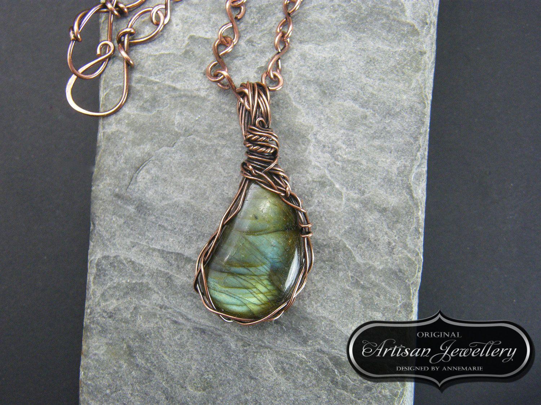 Antique Copper Wire Wrap Labradorite Pendant, Handmade Necklace ...