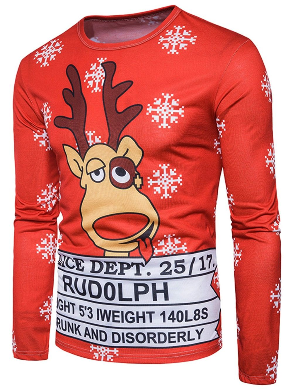 Cool Rudolph Reindeer Christmas Graphic Long Sleeve Printed Sweatshirt Shirt