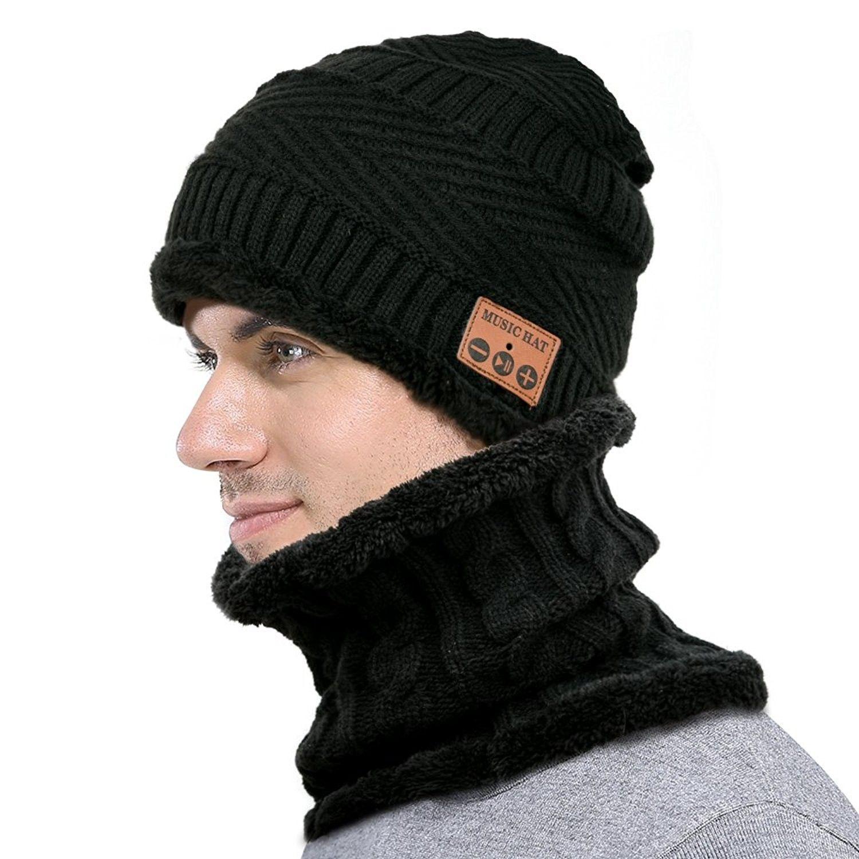 7e1399eb6afa2 Wireless Bluetooth Beanie Scarf SET Fleece Lined Thick Knit for Women  Man  - Black - CS1887DTN88 - Hats   Caps