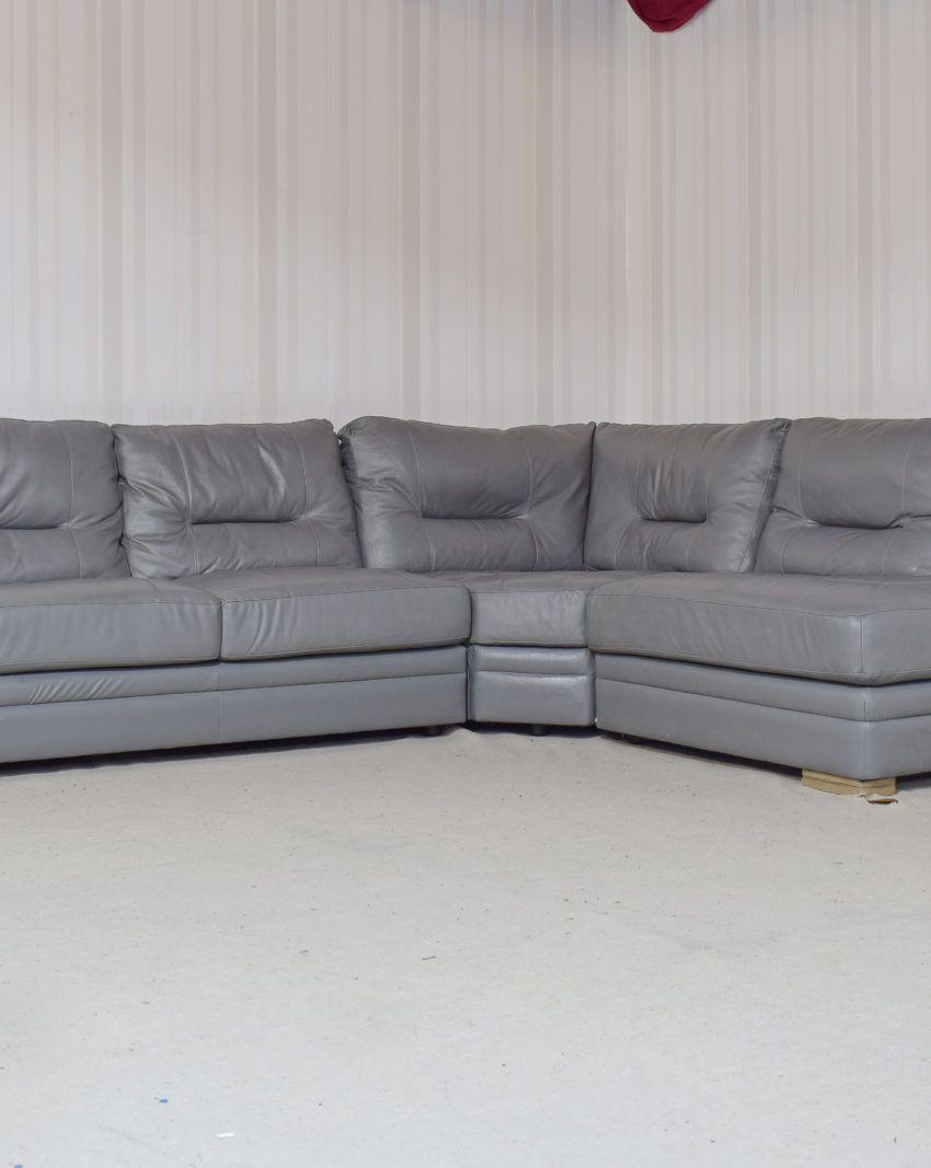 Mellow Leather Grey 3 Piece Corner Sofa (33
