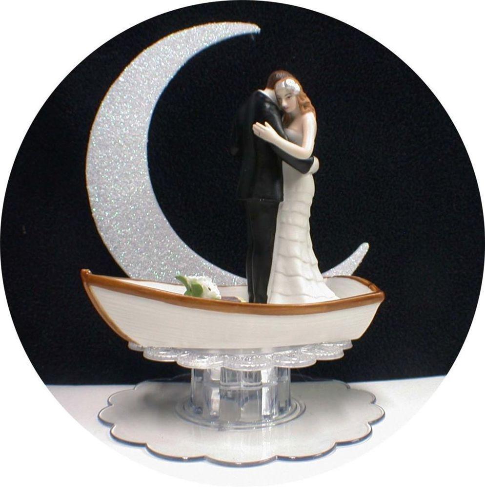 Romantic Moonlight Dance Lake Boat Wedding Cake Topper Top