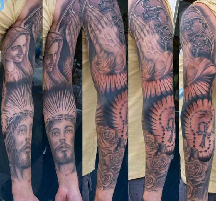 Römisch-katholische Ärmel Tattoos