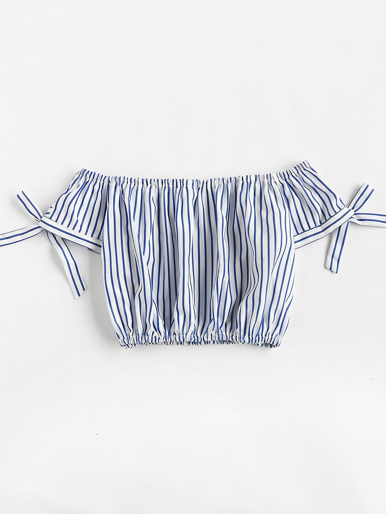 Off Shoulder Bow Tie Sleeve Striped Crop Top